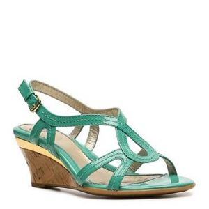 Sofft Paharita Teal/Gold Cork Wedge Sandal sz. 8M
